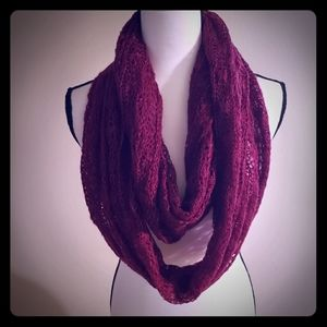 Charming Charlie Infinity Scarf Red w/Sparkles